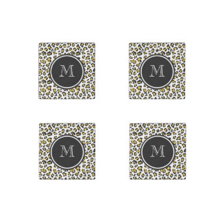 Yellow Black Leopard Animal Print with Monogram Stone Magnet