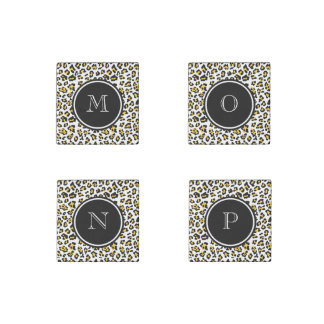 Yellow Black Leopard Animal Print with Monogram Stone Magnet