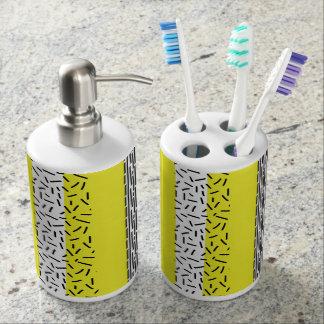 Yellow & Black Mix Geometric Pattern Bathroom Set