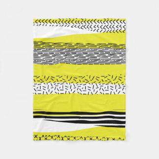 Yellow & Black Mix Geometric Pattern Fleece Blanket