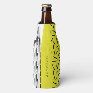 Yellow & Black Mix Geometric Pattern Personalized Bottle Cooler