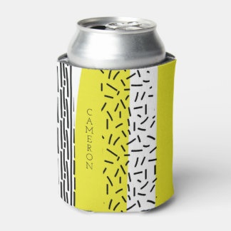 Yellow & Black Mix Geometric Pattern Personalized Can Cooler