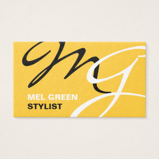 Yellow Black Modern Monogram