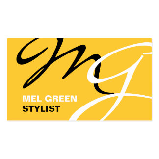 Yellow Black Modern Monogram Pack Of Standard Business Cards