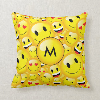 Yellow Black Monogram Smiley Emoji Art Pattern Cushion