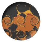 Yellow, Black, Orange Fire Swirl Retro Fine Art Plate