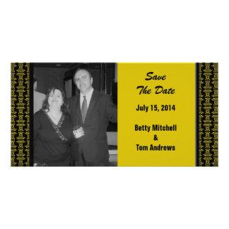 Yellow Black Pattern Wedding Custom Photo Card