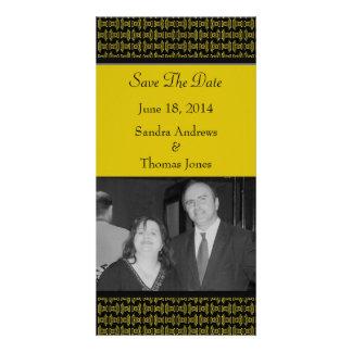 Yellow Black Pattern Wedding Photo Cards