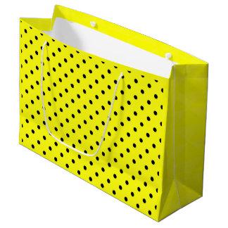 Yellow black polka dot large gift bag