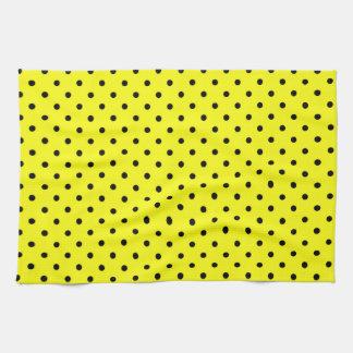 Yellow black polka dot tea towel