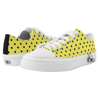Yellow & Black Polkadot Low Tops Printed Shoes