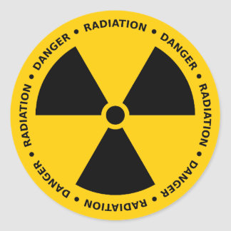 Yellow & Black Radiation Warning Sticker
