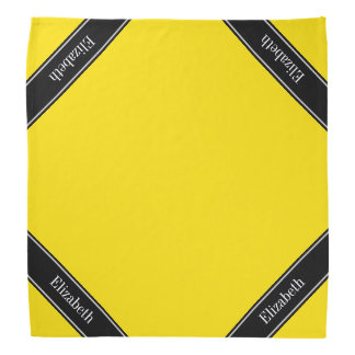 Yellow, Black Ribbon Name Monogram Bandana