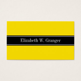 Yellow, Black Ribbon Name Monogram Business Card