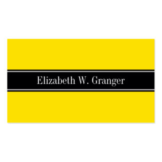 Yellow, Black Ribbon Name Monogram Pack Of Standard Business Cards