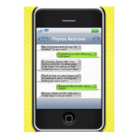 Yellow/Black Smart Phone iParty Birthday Party Personalized Announcement