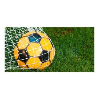 Yellow & Black Soccer Ball in Net Card