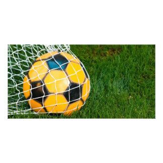 Yellow & Black Soccer Ball in Net Personalised Photo Card