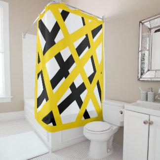 Yellow Black Stripe Geometric Shower Curtain