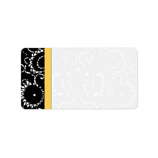 Yellow & Black Sunflower Damask Dots Shipping Address Label