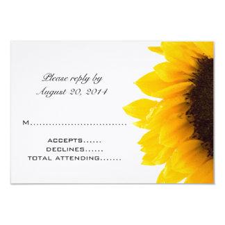Yellow Black Sunflower Wedding RSVP Cards 9 Cm X 13 Cm Invitation Card