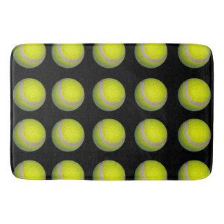 Yellow Black Tennis Ball Pattern, Bath Mat