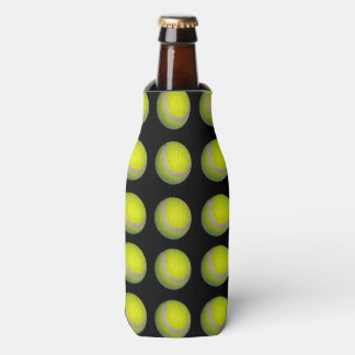 Yellow Black Tennis Ball Pattern, Bottle Cooler