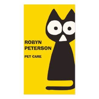 Yellow Black Triangle Cat Pack Of Standard Business Cards