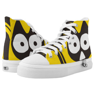 Yellow Black Triangle Cat Printed Shoes