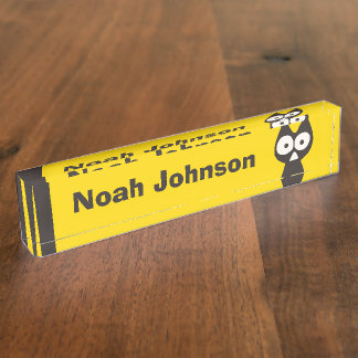 Yellow Black Triangle Symbolic Cat Desk Nameplates