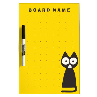 Yellow Black Triangle Symbolic Cat Dry Erase White Board