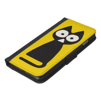 Yellow Black Triangle Symbolic Cat iPhone 6/6s Plus Wallet Case