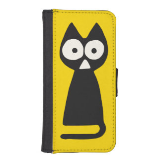 Yellow Black Triangle Symbolic Cat iPhone SE/5/5s Wallet Case