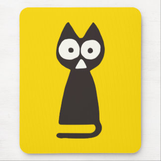 Yellow Black Triangle Symbolic Cat Mouse Mat