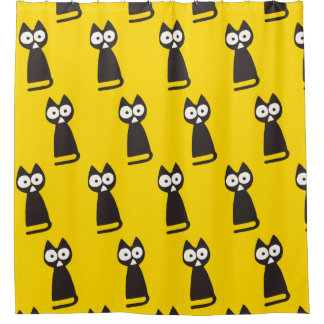 Yellow Black Triangle Symbolic Cat Shower Curtain