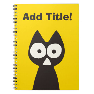 Yellow Black Triangle Symbolic Cat Spiral Notebook