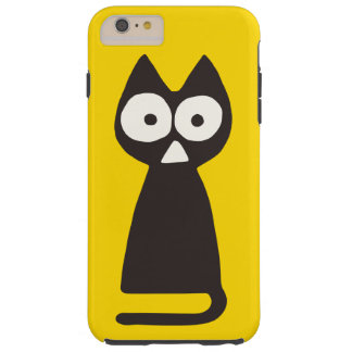 Yellow Black Triangle Symbolic Cat Tough iPhone 6 Plus Case