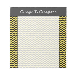 Yellow & Black Wavy Line Pattern + Custom Name Notepad