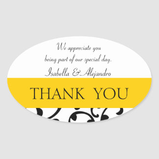 Yellow, Black Wedding Favor Thank You Message Stickers