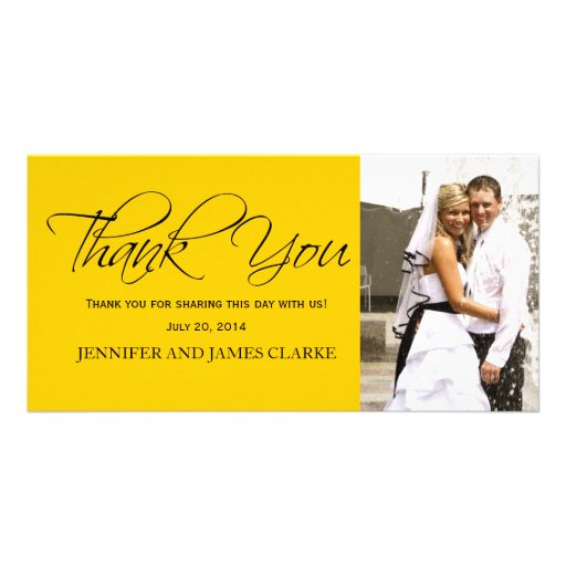 Yellow Black Wedding Thank You Photo Cards