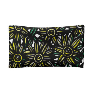 Yellow Black White Flowers Cosmetic Bags