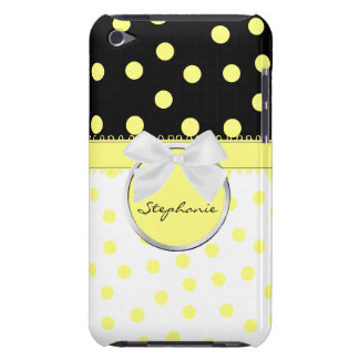 Yellow, Black, & White Polkadots iPod Case iPod Touch Covers