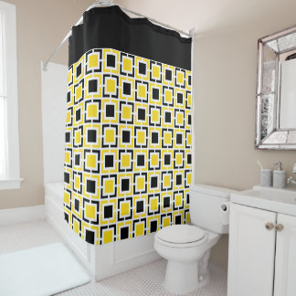 Yellow, Black White Retro Squares Shower Curtain