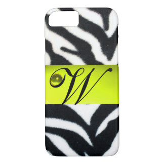 YELLOW BLACK WHITE ZEBRA FUR MONOGRAM,Topaz iPhone 8/7 Case