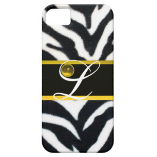 YELLOW BLACK WHITE ZEBRA FUR  YELLOW GEM MONOGRAM, CASE FOR THE iPhone 5