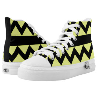 Yellow & Black Zigzag High Tops Printed Shoes