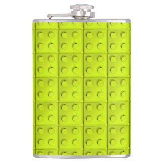 Yellow blocks pattern hip flask