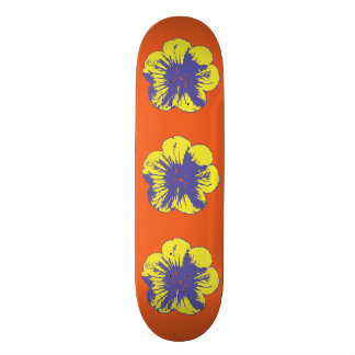 "Yellow & Blue 60's Flower 8 1/2"" Skateboard"
