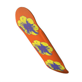 "Yellow & Blue 60's Flower 8 1/2"" Skateboard"