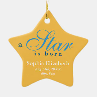 Yellow blue a star is born baby name announcement christmas ornament